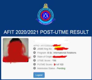 AFIT POST UTME Results 2020/2021